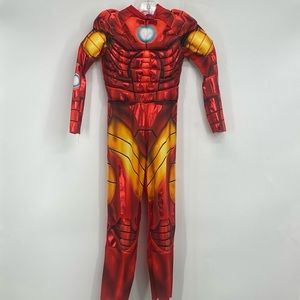 Iron Man Muscle Boys Costume Red Gold With Mask